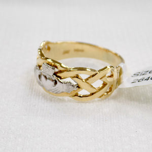 Celtic weave mens gold ring with silver Claddagh