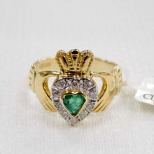 Load image into Gallery viewer, Emerald and diamond ladies gold Claddagh ring