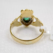 Load image into Gallery viewer, Gold Claddagh Ring with Emerald and Diamond.