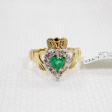 Load image into Gallery viewer, Irish made gold Claddagh ring with emerald and diamond