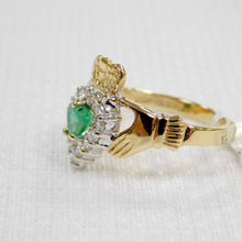Load image into Gallery viewer, side view gold claddagh ring with emerald and diamonds