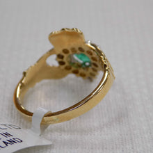 Load image into Gallery viewer, Emerald and Diamond Claddagh Ring