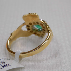 Emerald and Diamond Claddagh Ring