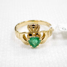 Load image into Gallery viewer, Ladies gold Claddagh ring with real emerald heart.