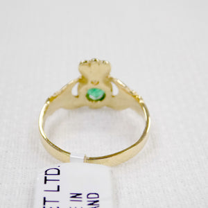 Gold and Emerald Claddagh Ring