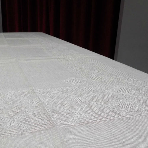 Large loose weave Irish linen tablecloth