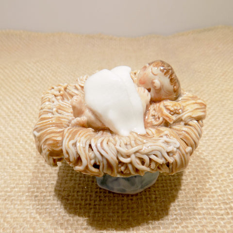 Ceramic baby Jesus nativity figure made in Ireland