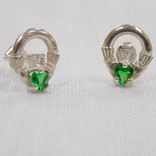 Load image into Gallery viewer, Green Claddagh Stud Earrings