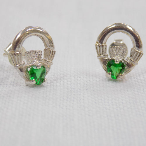Green Claddagh Stud Earrings