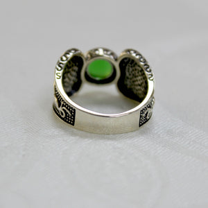 Celtic Warrior Ring- Green Stone