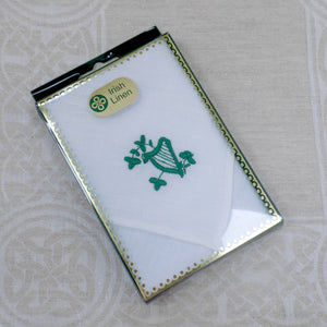 Irish Linen Handkerchief with Embroidered Harp