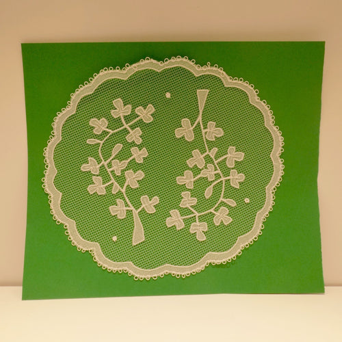 Handmade Irish Carickmacross lace shamrocks