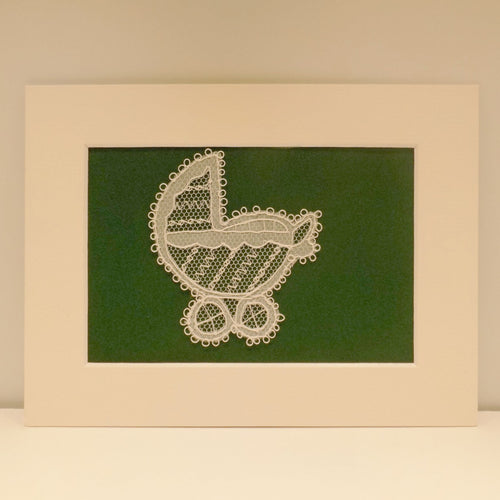 Handmade Irish Carrickmacross lace pram
