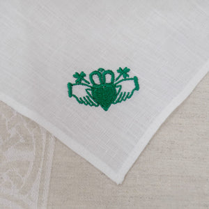 Irish Linen Handkerchief with Claddagh Design