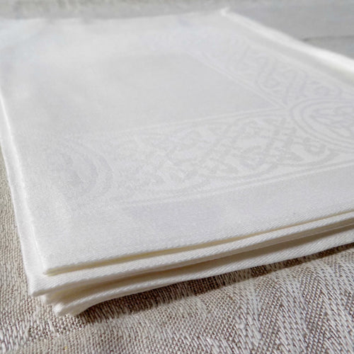 White Irish linen placemat with celtic weave