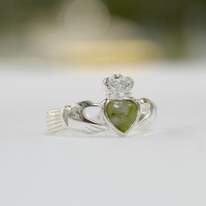 Sterling Silver Claddagh Ring with Connemara Marble Heart