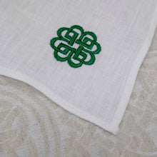 Load image into Gallery viewer, Irish linen handkerchief with celtic knot