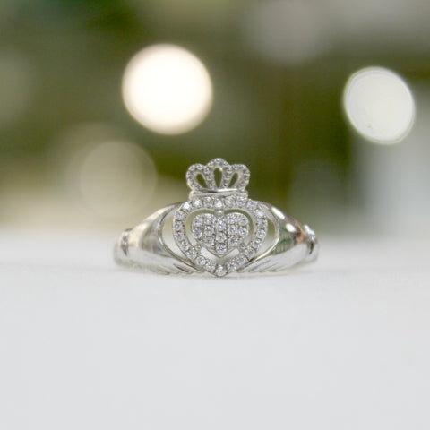 Sparkling Claddagh Ring