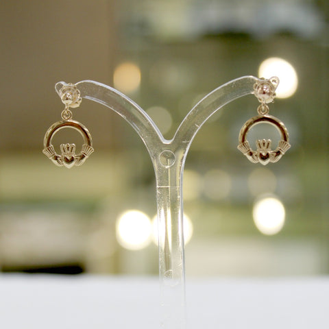Dangling Gold Claddagh Earrings