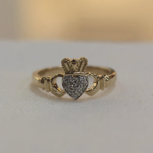 Gold Claddagh Ring with Diamond Heart