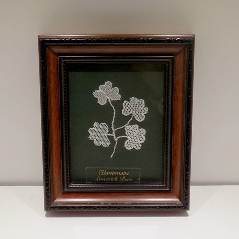Limerick Lace shamrocks- Framed