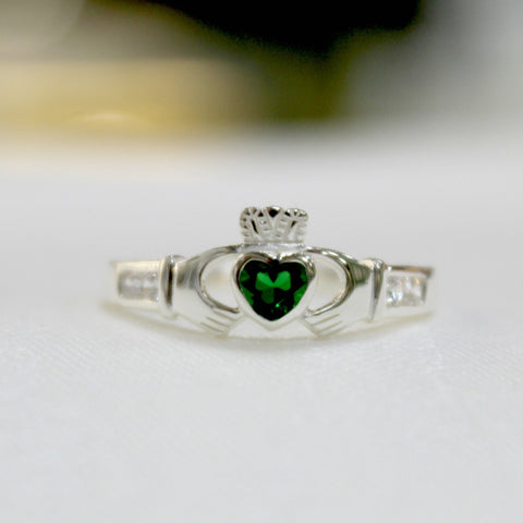 Sterling Silver Claddagh Ring with Green Heart.