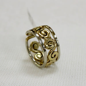 Grange celtic style ring with swirl design