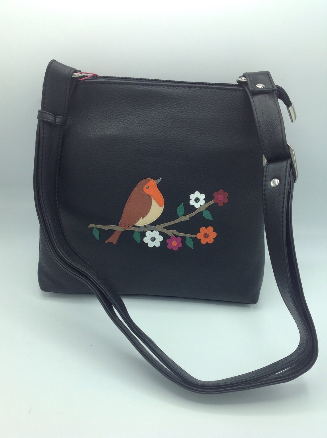 Mala Leather Cross Body Bag with a Robin Motif