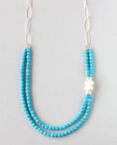 Turquoise Tridacna Silver Necklace