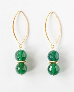 Green Agate Gold Earrings
