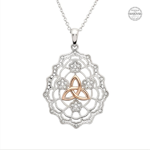 Irish Lace Sterling Silver Rose Gold Trinity Knot Necklace