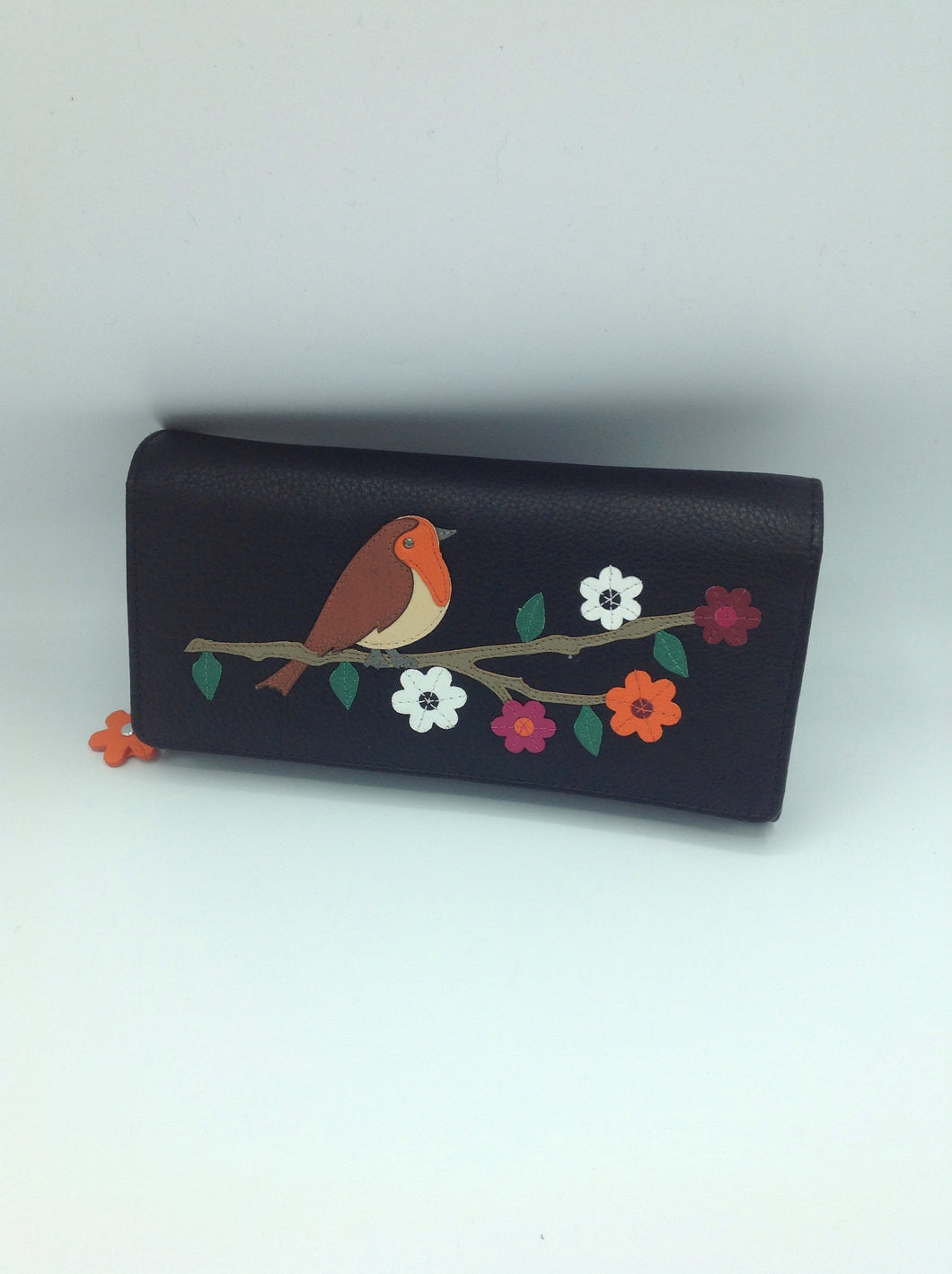 Mala Leather Flap Over Purse with Robin Motif