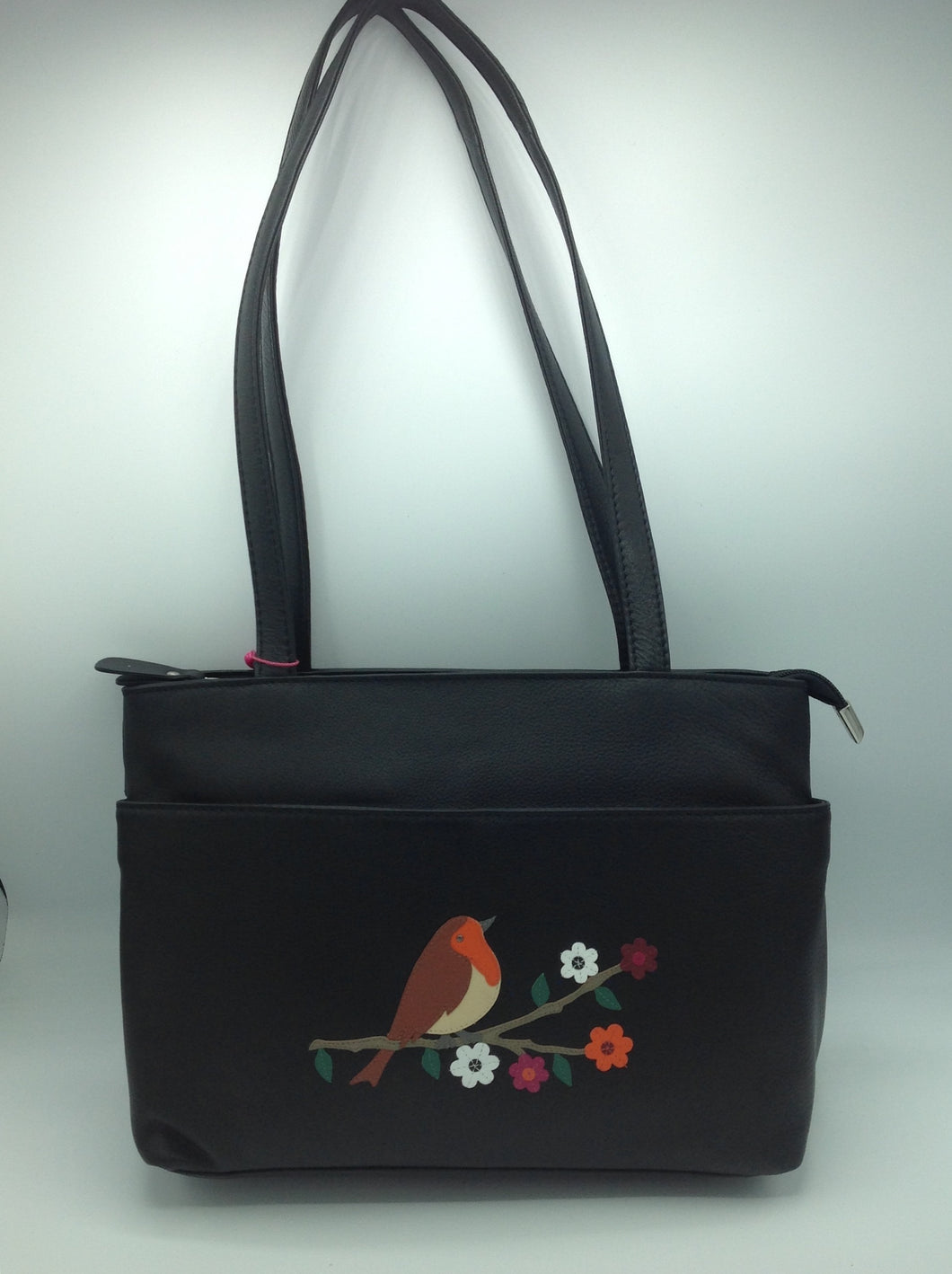Mala Leather Handbag with Robin Motif