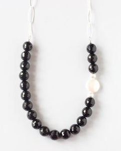 Black Onyx Pearl Silver Necklace