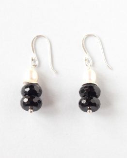 Black Onyx Pearl Earrings