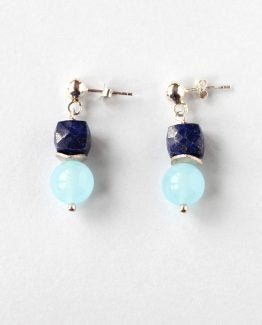 Blue Chalcedony Lapis Lazuli Silver Stud Earrings