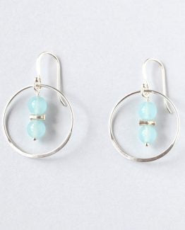 Blue Chalcedony Silver Hoop Earrings