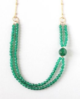 Green Agate Gold Chain Necklace