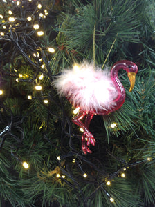 Glass Flamingo Tree Decoration