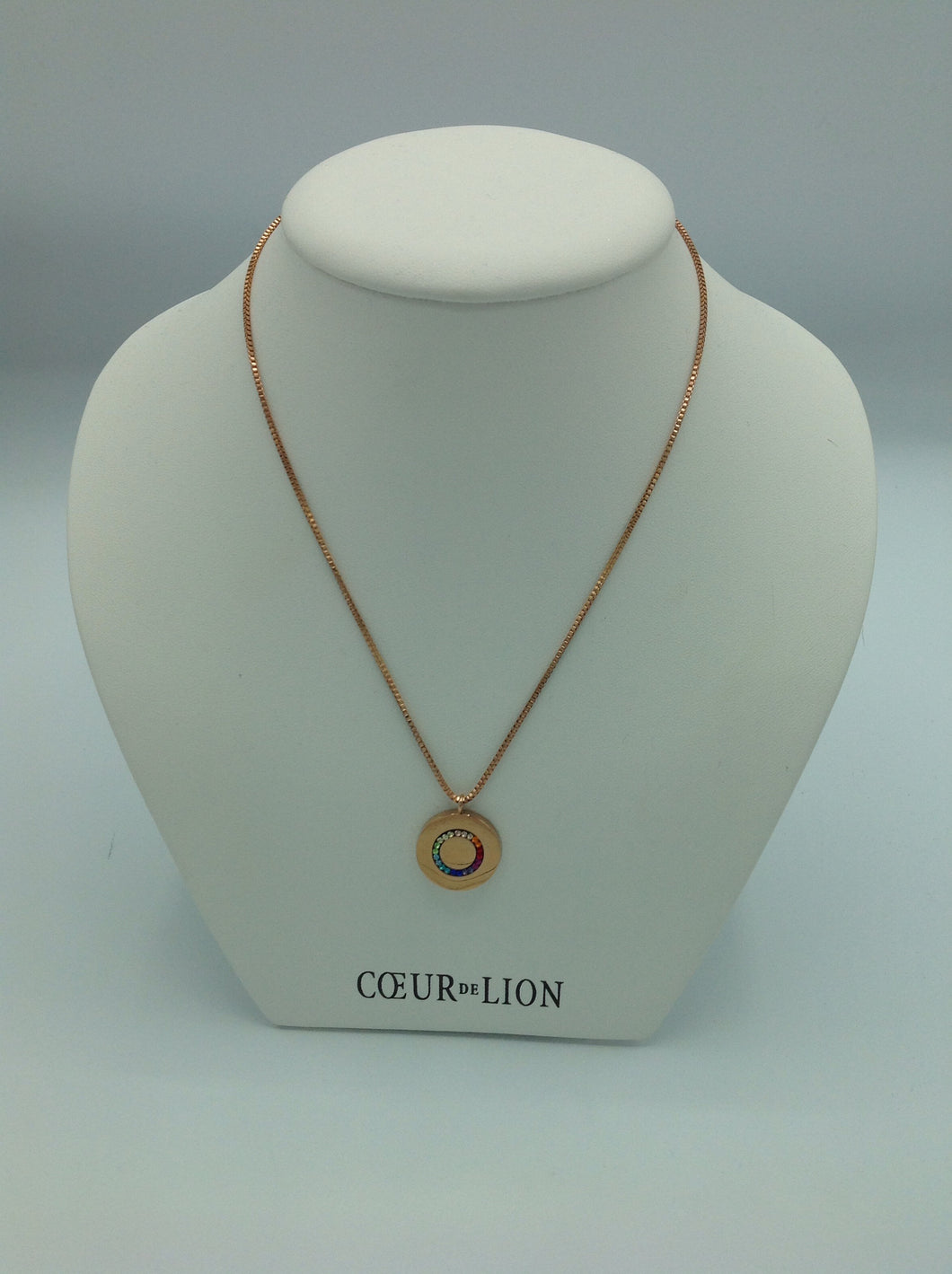 Coeur de Lion Necklace Multicolour Stainless Steel Disk Rose Gold