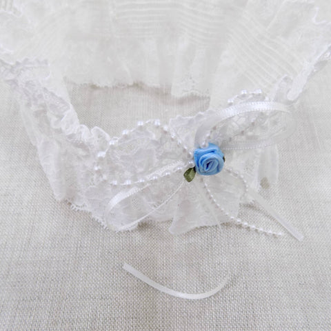 Lace garter with blue rose