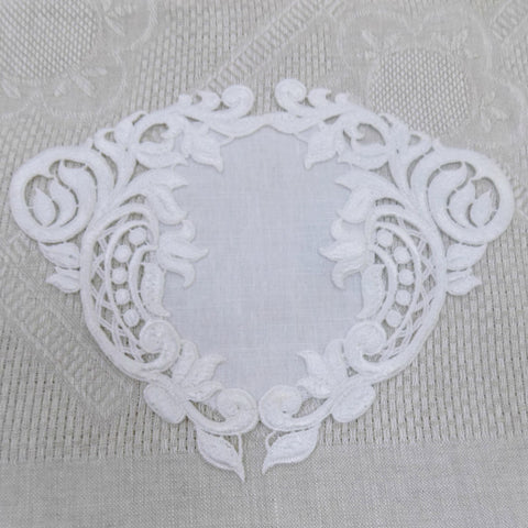 """Hearts and Flowers"" Lace Doily."