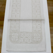 "Load image into Gallery viewer, Damask Irish Linen Runner- ""Colmcille"" - 54"""