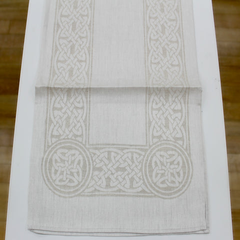 "Damask Irish Linen Runner- ""Colmcille"" - 45"""