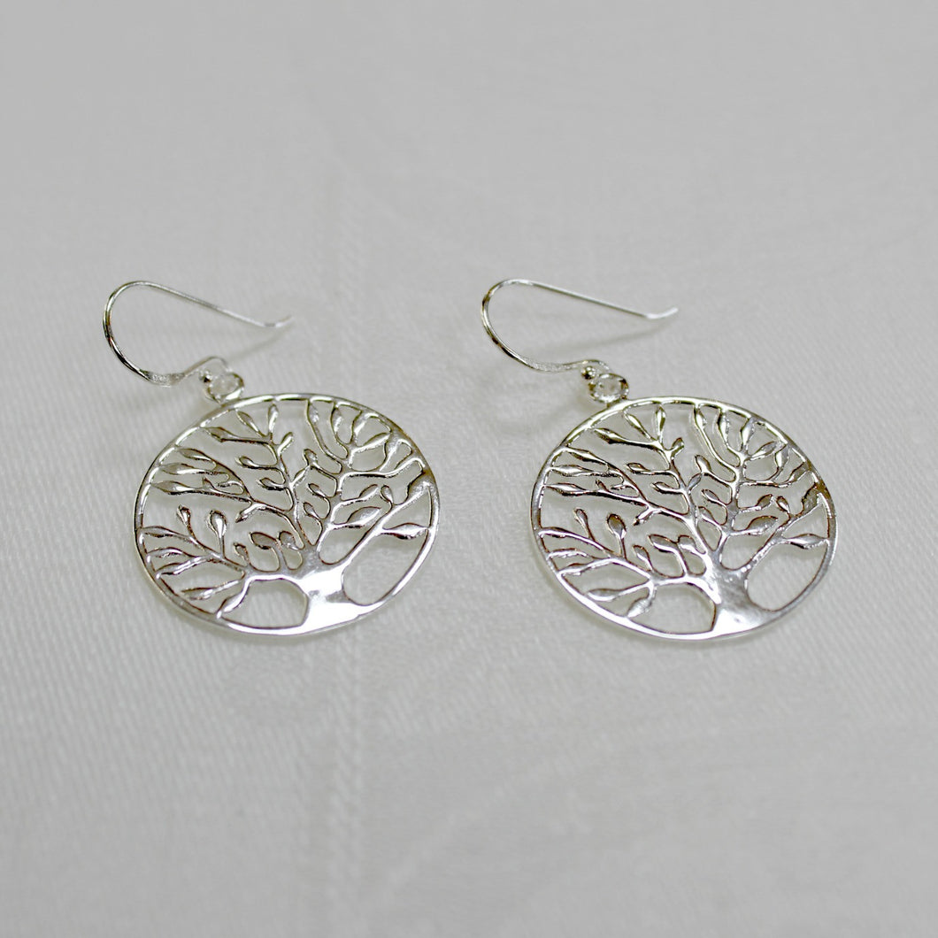 Silver Tree Drop Earrings
