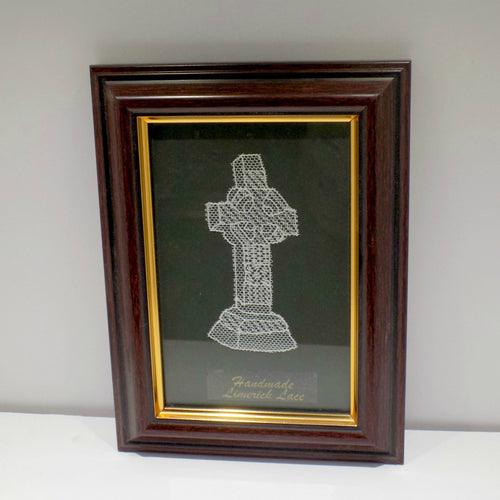 Framed handmade Limerick Lace Celtic cross