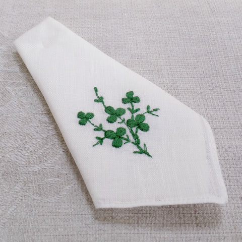 Irish linen handkerchief shamrock pattern