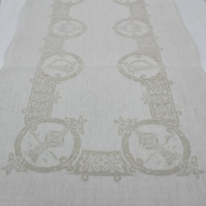 "Damask Irish Linen Runner- Celtic, 12""x45"""