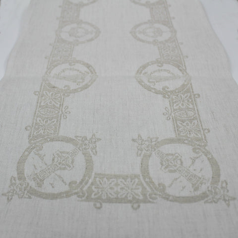 "Damask Irish Linen Runner- Celtic- 12""x54"""