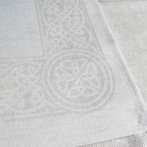 "Damask Irish Linen Placemat - ""Colmcille"", Natural"